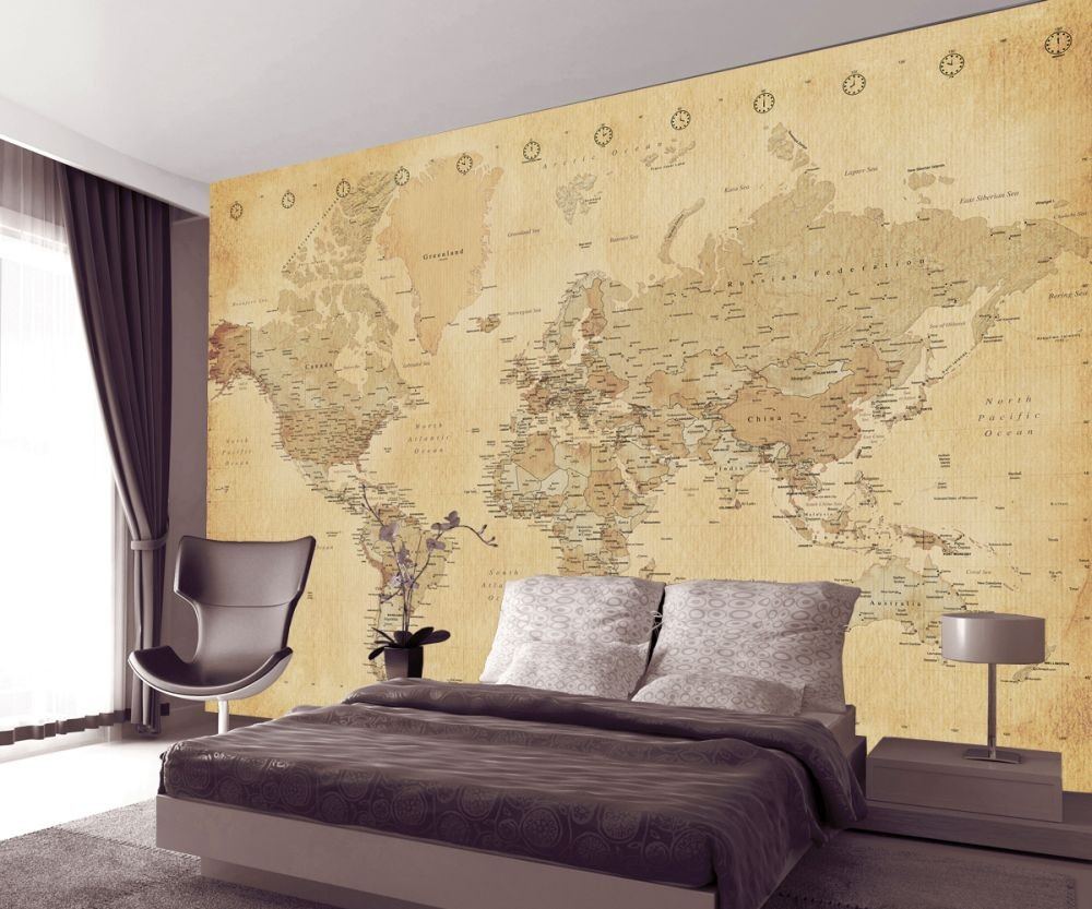 World map antique style poster sold at europosters for Antique wallpaper mural