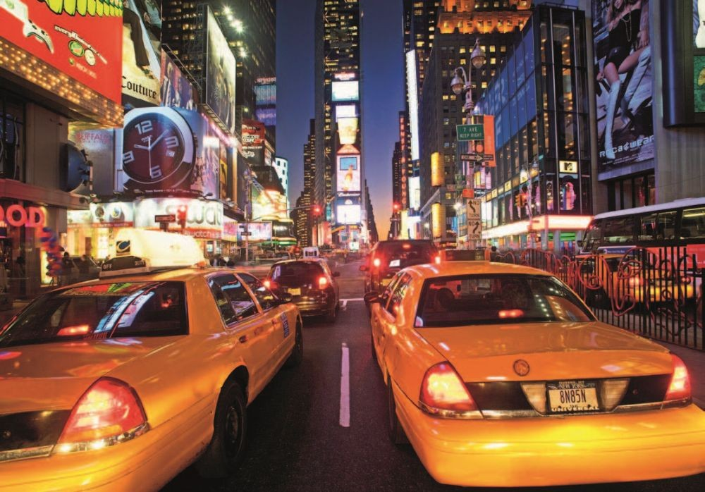 new york times square taxi poster mural acheter le sur. Black Bedroom Furniture Sets. Home Design Ideas