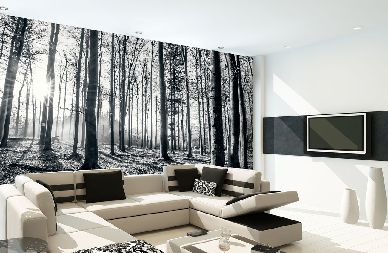 Forest black and white wall mural buy at europosters for Black and white forest wall mural