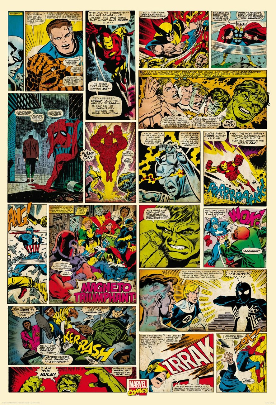 Wall mural wallpaper marvel comic strip europosters for Cheap wall mural posters
