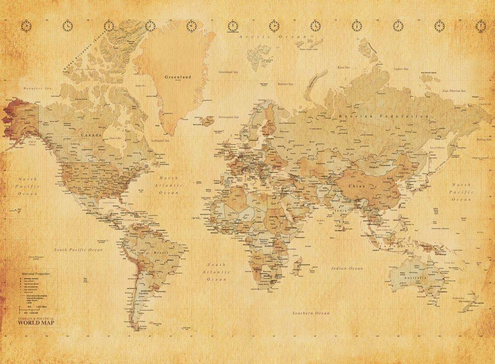 World map antique style wall mural buy at europosters for Antique world map wall mural