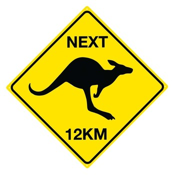 ROO - Next 12 km metal sign