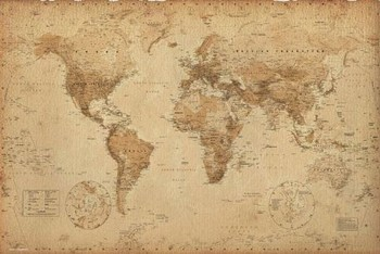 WORLD MAP - antique style posters | art prints