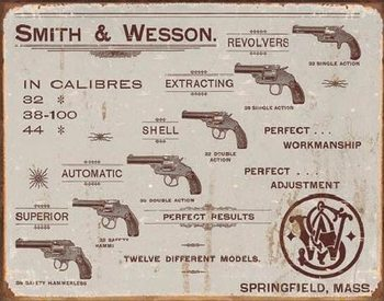 Metalowa tabliczka S&W - revolvers