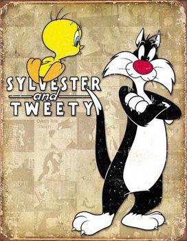 Metalowa tabliczka Tweety & Sylvester - Retro