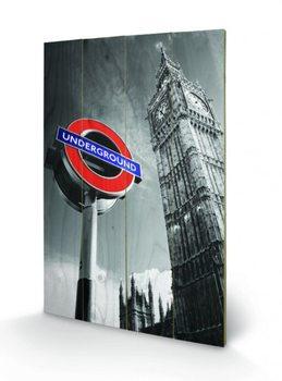 Obraz na drewnie Londyn - Underground Sign & Big Ben