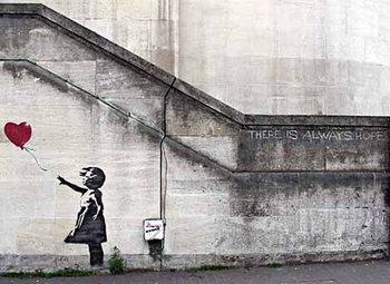 Plakat Banksy Street Art - Girl with Red Balloon Hope