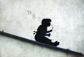 Plakat Banksy street art - Graffiti Girl Sliding