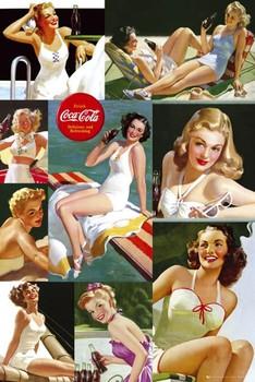 Plakat Coca Cola - girl colour collage