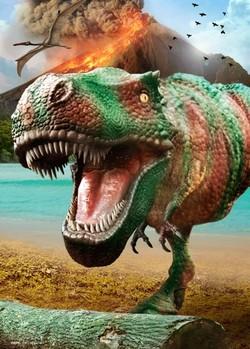 Dinosaurus - volcano Plakat 3D Oprawiony
