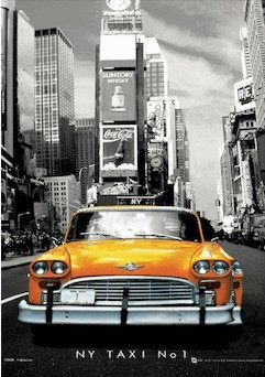 Nowy Jork - taxi no.1 Plakat 3D Oprawiony