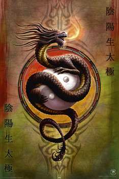 ANNE STOKES - yin yang protect posters | art prints