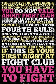 Fight club -  8 rules Poster, Art Print