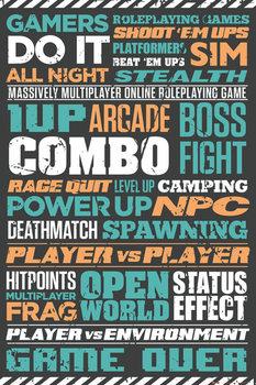Gaming - Typographic Poster, Art Print