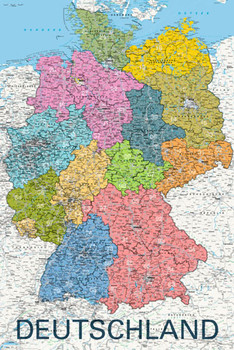 MAP - deutschland political 2011 posters | art prints