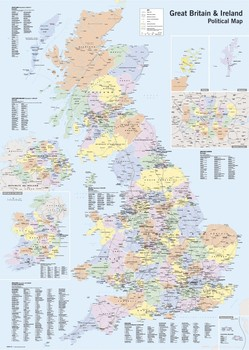 MAP GB &amp; IRELAND - political posters | art prints