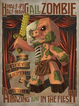 Minecraft - Half Pig Half Man Poster, Art Print