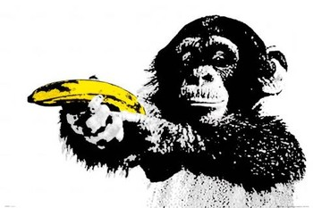 Monkey - banana Poster, Art Print