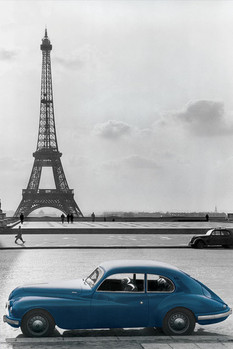 PARIS - la voiture bleue posters | art prints