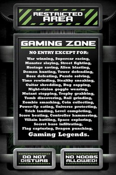 RESTRICTED AREA - gaming zone posters | art prints