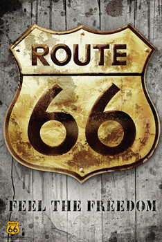 Route 66 - golden sign Poster, Art Print