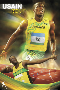 Usain Bolt - gold Poster, Art Print