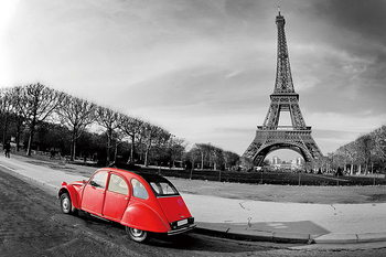 Obraz Paris - Red Car b&w