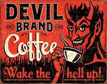 Metalowa tabliczka Devil Brand Coffee