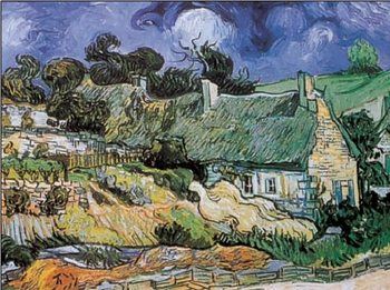 Reprodukcja Cottages with Thatched Roofs, Auvers-sur-Oise