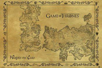 Plakat Gra o tron - mapa Westeros antyczna