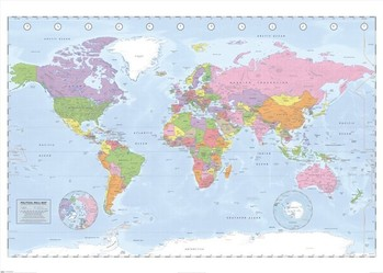 Plakat Mapa świata polityczna