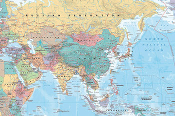 Asia and Middle East Map - Political Poster, Art Print
