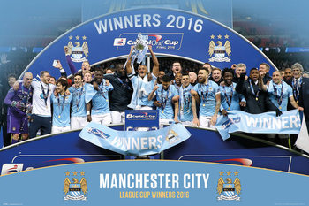 Manchester City FC - League Cup Winners 15/16 Poster, Art Print