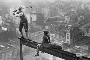 MEN ON GIRDER - tee time posters | art prints