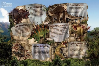 NATURAL HISTORY MUSEUM - dinosaur facts posters | art prints