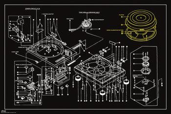 Steez - Decks Technical Drawing Poster, Art Print