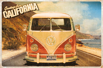 VW Volkswagen Camper - cali postcard Poster, Art Print