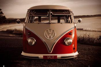 VW Volkswagen - Red kombi Poster, Art Print