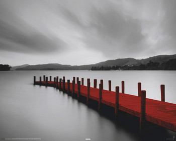 WOODEN LANDING JETTY - red Poster, Art Print