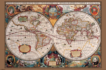 WORLD MAP - gold ink 17th century posters | art prints