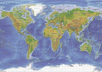 WORLD MAP - terrain posters | art prints