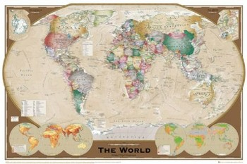 WORLD MAP - trippel projection posters | art prints