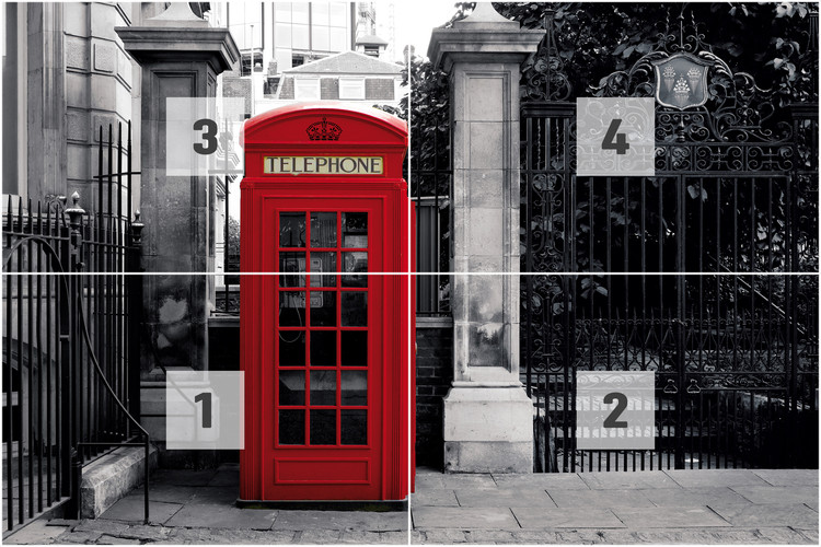 london red telephone box wall mural buy at europosters. Black Bedroom Furniture Sets. Home Design Ideas