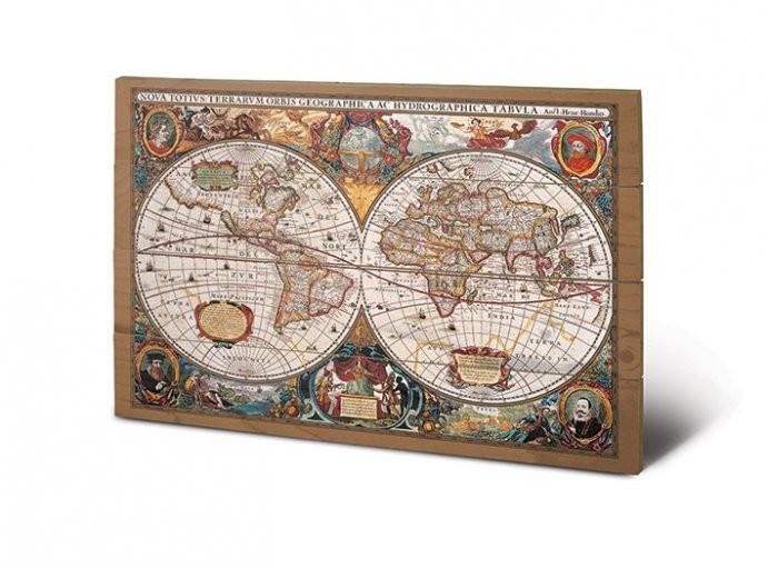 carte du monde du 17 me si cle panneaux en bois acheter le sur. Black Bedroom Furniture Sets. Home Design Ideas