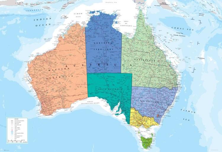 Mapa polityczna Australii Fototapeta