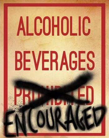 Metalowa tabliczka Alcoholic Beverages