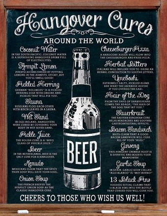 Metalowa tabliczka Hangover Cures