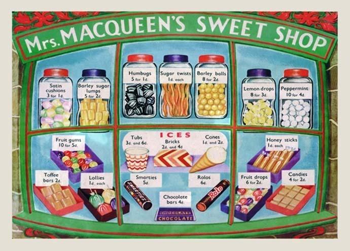 Metalowa tabliczka Mrs. MACQUEEN'S SWEET SHOP
