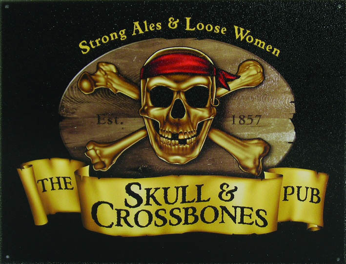 Metalowa tabliczka SKULL and CROSSBONES