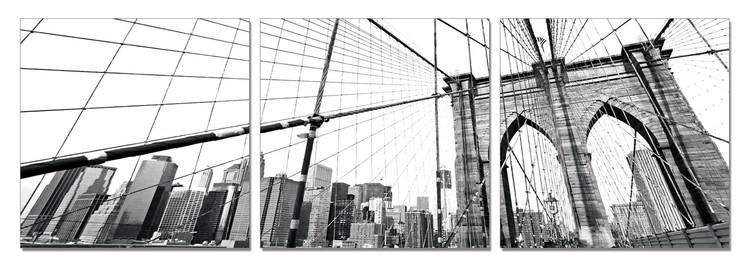 New York - Brooklyn Bridge detail (B&W) Obraz
